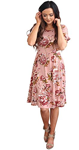Mikarose Nessa Modest Dress In Mauve Floral Print - L, Modest Bridesmaid Dress In Pink Floral