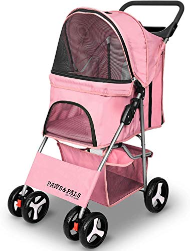 Paws & Pals Small Pet Stroller Cat/Dog Easy to Walk Folding Travel Carrier Carriage, Rose Wine