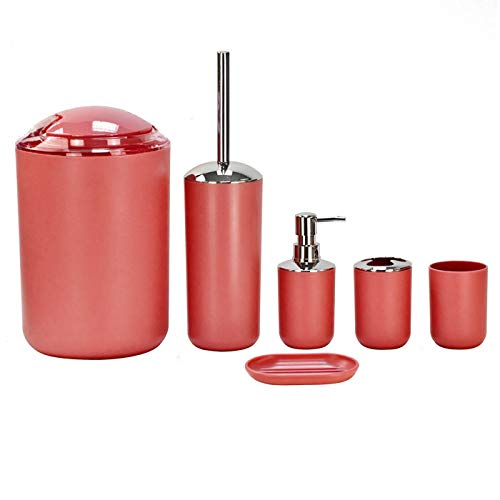 (Keraiz 6 Piece Elegant Bathroom Accessory Set | Washroom Essentials | Soap Box, Dispenser, Toilet Brush, Toothbrush Holder, Dust Bin, Rinse Cup. (Red))