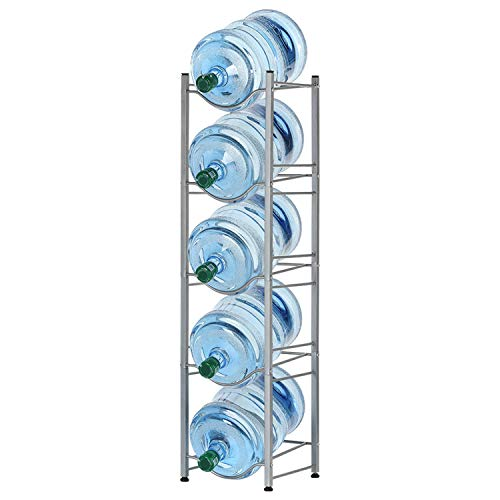 5-Tier Water Bottle Holder Cooler Jug Rack, 5 Gallon Water Bottle Storage Rack Detachable Heavy Duty Water Bottle Cabby Rack