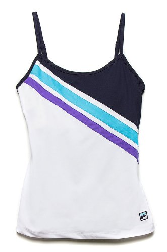 Fila Center Court Cami Tank Tops, White / Peacoat / Blue Atoll / Simply Purple, Large ()