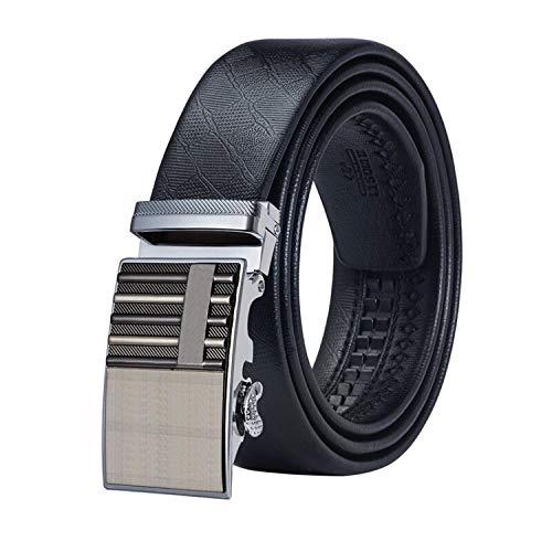 Ablack Belts for Men Waist Belt Automatic Buckle Ratchet Genuine Leather Designer Gold Belt Strap,Ea-0080,145Cm ()