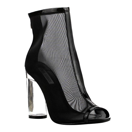CAPE ROBBIN FF67 Women's Mesh Net Peep Toe Block Clear Heel Ankle Booties