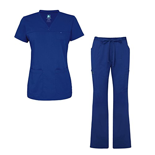 Adar Indulgence Jr. Fit Womens Scrub Set Curved V-Neck Medical Scrub Top and Scrub Pants - 4401 - Royal Blue - 2X
