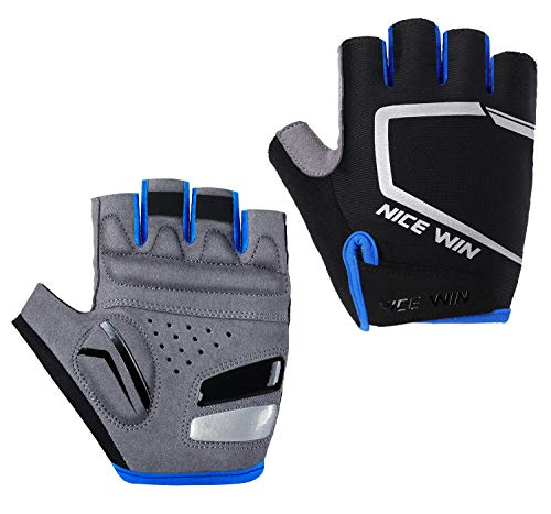 - Cycling Gloves - Motorcycle/Mountain Bike - Half-Finger Workout Gloves Road Bicycle Glove for Men or Women Blue L