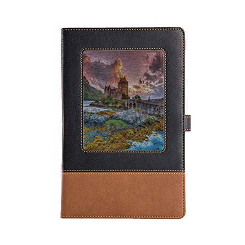 Hand-Made Notebook Scenery Decor Cafe Writing Leather Notebook 8.6 6.1 Inches, A5