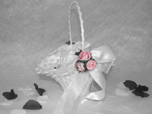 Blumenkinderkörbchen weiss, -Exclusiv, rosa-, Blumenkinderkorb Streukörbchen zur Hochzeit