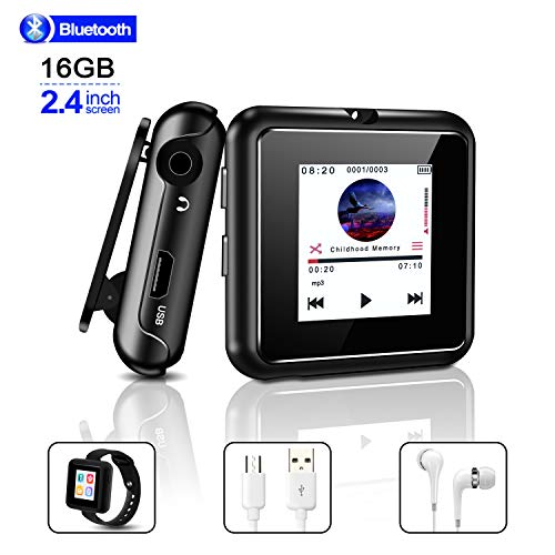 MP3 Player, 16GB MP3 Players Bluetooth 4.2 Full Touch Screen Sports Music Player Portable Lossless Sound Music Player/MP4 Player with FM Radio/Voice Recorder/E-Book/Video(Headphones Included) (Mp4 Radio)