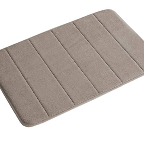 Extra Absorbent Memory Foam Rug Non Slip Flannel Bathroom Rugs Set Machine-Washable, Perfect for Bath/Tub (Pack 1-20″ x 32″-Taupe Striped Pattern)