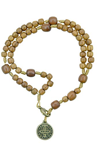 Catholica Shop San Benito Saint Benedict Metal Medal with Wooden Beads Rosary Bracelet