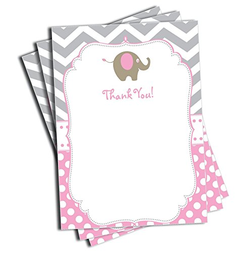 - 25 Pink Elephant Thank You Cards and Envelopes - Baby Shower - Birthday Party - Any Occasion - A6 Size (25 pack)