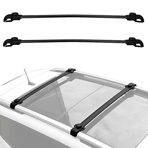 ALAVENTE Roof Rack CrossBars System Cross Bar For JEEP Renegade 2014 2015 2016 2017 with Side Rails (Pair, Black)