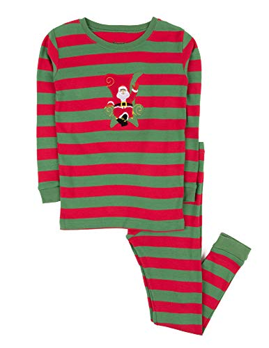 Leveret Kids Christmas Pajamas Boys Girls & Toddler Pajamas 2 Piece Pjs Set 100% Cotton (4 Years, Santa Red/Green)