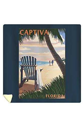 Lantern Press Captiva, Florida - Adirondack Chair on The Beach 45295 (88x88 Queen Microfiber Duvet Cover)