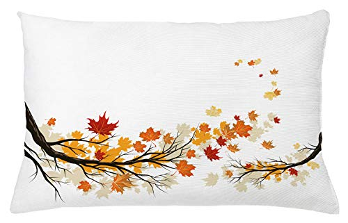 """Ambesonne Fall Throw Pillow Cushion Cover, Swirling Bended Fall Tree Branches with Colored Leaves Pastoral Season Theme, Decorative Rectangle Accent Pillow Case, 26"""" X 16"""", Orange Marigold"""