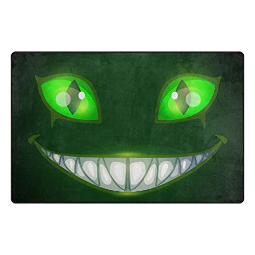 S Husky Entrance Door Mat Horrifying Halloween Chester Cat Green Eye Mouth Canine Nightmare Smile Duty Front Outdoor Rug, Non-Slip Lock Water Welcome Doormat for Entry, Patio 31 x 20 in 2041547