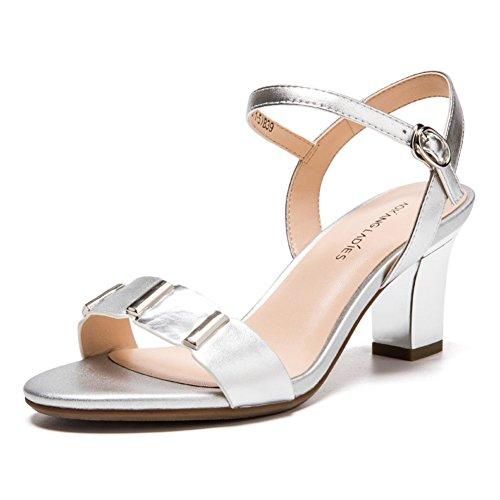 Verano Ronda Los Tacones Peep-toe,Una Palabra Tipo Hebilla Con Un Tacón Grueso Sandalias plata