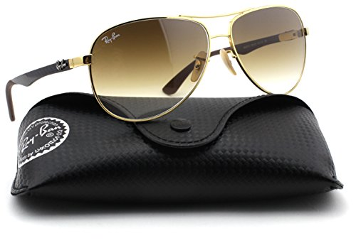 Ray-Ban RB8313 Carbon Fibre Aviator Unisex Sunglasses (Gold Frame/Light Brown Gradient Lens 001/51, 61) (Carbon Aviator)