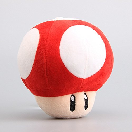 Super Mario Bros Red Mushroom Soft Plush Figure Toy Anime Stuffed Animal 6 Inch Child Gift Doll (Super Mario Bros Mushroom)