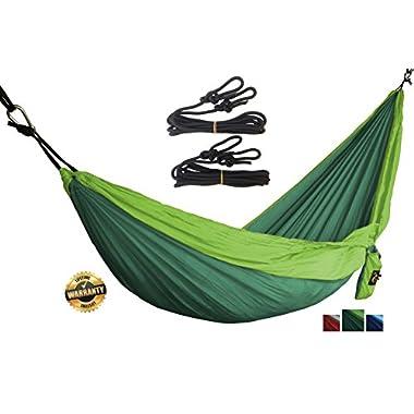 Golden Eagle Portable Camping Parachute Silk Single Hammock Set. Premium Quality. (dark/light green)