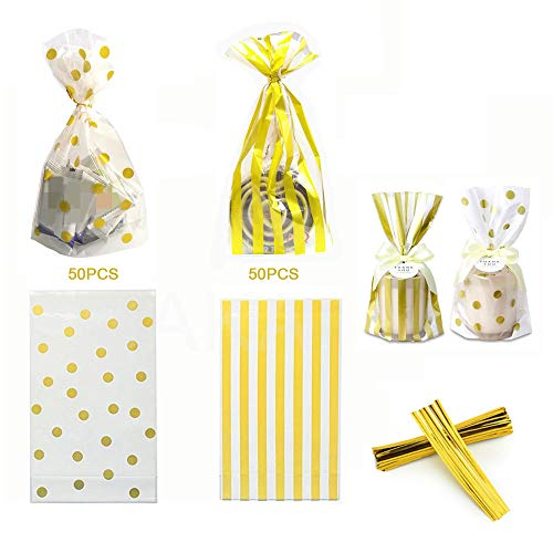 100 Pack Clear Cello Bags with Candy Cookie Bags 10 x 6 x 2.5 inch Clear Plastic Treat Bags Gold Polka Dot and Gold Stripe Candy Bags for Cookie Candy Snack Wrapping Party Favor with Gold Twist Ties ()