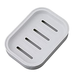 HS 1pc Plastic Soap Dish Holder Case Container with Tray Shower Soap Saver Holder (Gray blue)