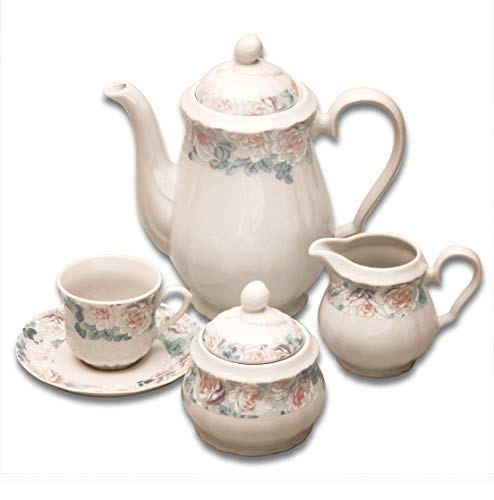 Elegant Porcelain Coffee Serving Set ROSE II.- 6x cup with saucer, 1x coffee pot with lid, 1x sugar bowl with lid, 1x milk pot, decorative china coffee full serving set ()