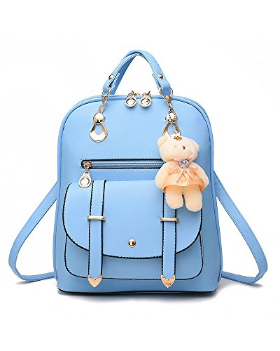 Hellocolorcc - Bolso de Mochila Mujer Azul