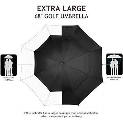 "Fixm Golf Umbrella, 68"" Automatic Open Golf Umbrella, Extra Large Oversized Vented Double Canopy, Waterproof Antiskid & Durable, Windproof Rainproof & Sun-Resistant (Black)"