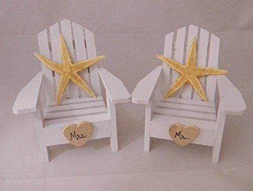 Wedding Reception Mr Mrs adirondack chair Beach Starfish cake (Beach Themed Cake Toppers)