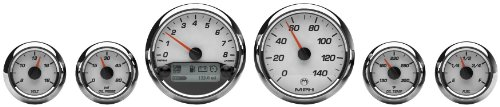 Medallion Premium Bagger Racing White Gauges for 2004-2013 FLH, FLT models - One Size Bagger Gauges