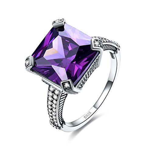 Merthus Antique Style Womens 925 Sterling Silver Created Amethyst Ring (Created Antique Style Ring)