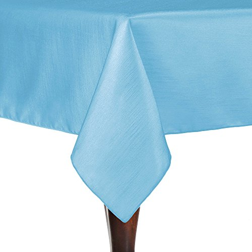 Majestic Square Two Light - Ultimate Textile Reversible Shantung Satin - Majestic 90 x 90-Inch Square Tablecloth Light Baby Blue