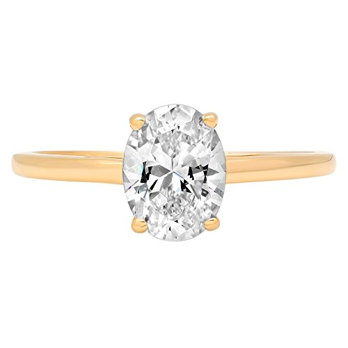 14k Yellow Gold 0.97cttw Oval Solitaire Moissanite Engagement Promise Ring Statement Anniversary Bridal Wedding, Size 8 ()