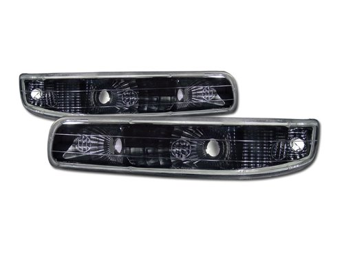 VXMOTOR for 1999-2002 Chevy Silverado Pickup All Models, 2000-2006 Chevy Suburban/Tahoe All Models - Euro Black Clear - Signal Bumper Lights Lamp