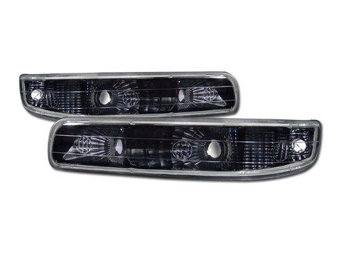 VXMOTOR - Euro Black Clear - Signal Bumper Lights Lamp - Silverado/Suburban Tahoe 1999-2002 Chevy Silverado Pickup All Models, 2000-2006 Chevy Suburban / Tahoe All Models