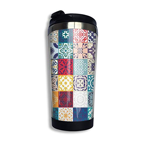 (Kuyanasfk Patchwork Vintage Lisbon Spain Tunisia Motifs Stainless Steel Coffee Tumbler Travel Cup with Lid Vacuum Insulated Coffee Mug 13.5oz for Men & Women Home Office Camping)
