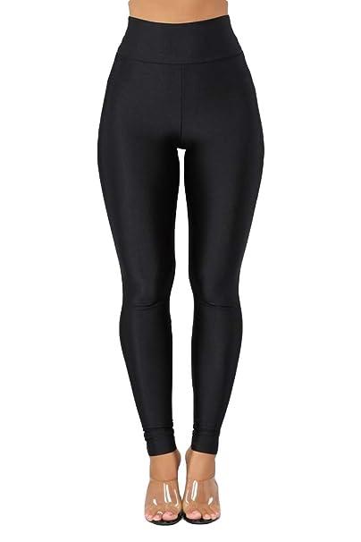 Womens Shiny Metallic High Waist Yoga Pants Tummy Control ...