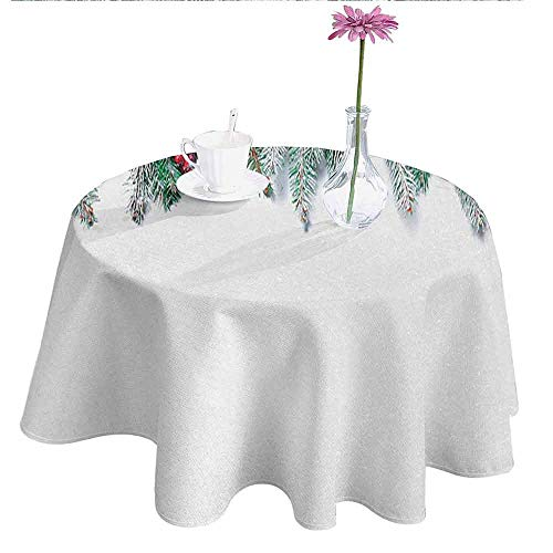 - Douglas Hill Christmas Waterproof Anti-Wrinkle no Pollution Snowy Xmas Branch with Baubles Stars Berries Cones Mistletoe Yule Nativity Image Table Cloth D35 Inch Green Red