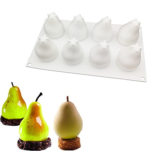 (Emousport New DIY Baking Non-stick French Dessert Pear Shape Mousse Silicone Cake Mold Form Pastry Decorating Tool For Soap Fondant Mould)
