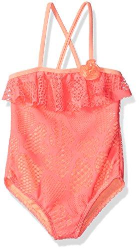 Angel Beach Little Girls Heart Crochet One Piece Swimsuit with Flounce Ruffle, Pink, 5
