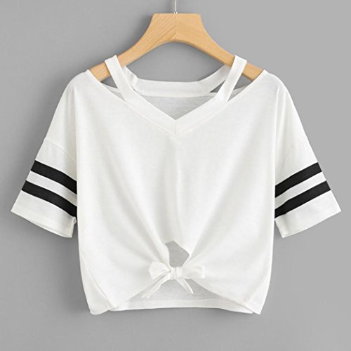 iTLOTL Women Ladies Short T-Shirt Short Sleeve Round Neck Casual Tops Blouse at Amazon Womens Clothing store: