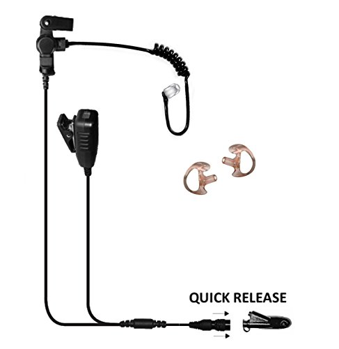 Tactical Ear Gadgets Cougar 2-Wire Surveillance Earpiece EP4033QR with Quick Release for Motorola HT1250 HT750 Radio (Black Tube) by The Ear Phone Connection