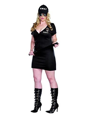Alexa by Dreamgirl Women's Sexy Plus-Size S.W.A.T. Police Costume, Black, 3/4X