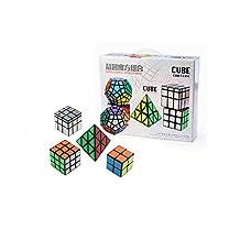 I-xun Speed Magic Cube Bundle, 2x2 3x3 Pyraminx Mirror Megaminx Puzzle Cube - 5 Pack