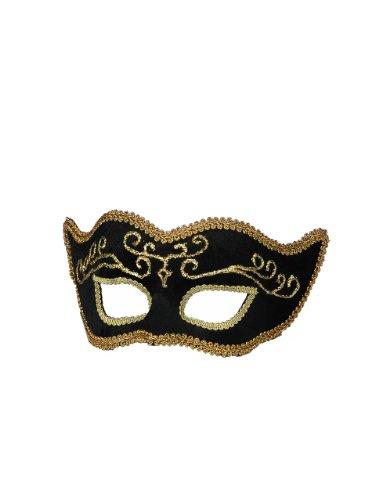 Forum Mardi Gras Costume Masquerade Half Mask With Gold Trim