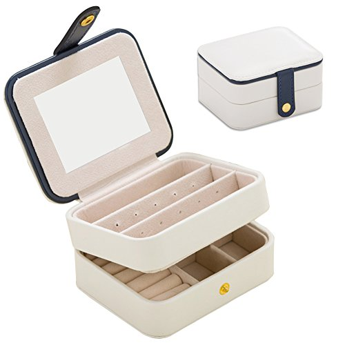 Jewelry Organizer Box-Nasion.V Travel Portable Jewelry Storage Case Accessories Holder Pouch Bulit-in Mirror with Environmental Faux Leather for Earring,Lipstick,Necklace,Bracelet,Rings White