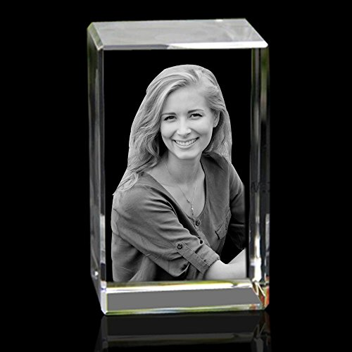 Qianruna Personalized Custom 2D/3D Crystal Photo Laser Etched Engraving Gifts for Wedding and Anniversary