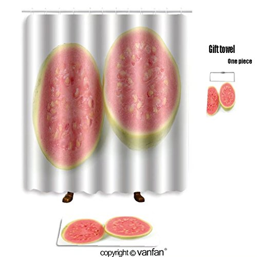 vanfan bath sets with Polyester rugs and shower curtain guava fruit over white background 2415080 shower curtains sets bathroom 60 x 72 inches&23.6 x 15.7 inches(Free 1 towel and 12 hooks)