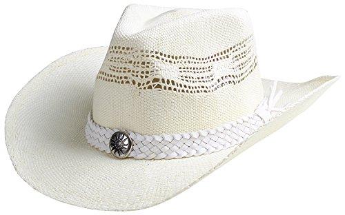(Classic Straw Cowboy Cowgirl Hat Western Outback w/Wide Brim - F)